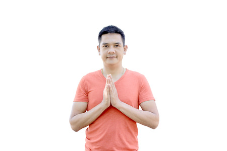 thailand culture: Sawasdee, The man show welcomed Thailand Culture on white background Stock Photo