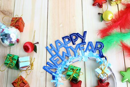 new year party  decoration on wood background with space for text Stock Photo
