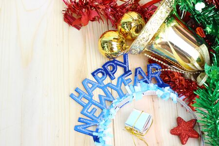 new year decoration on wooden background with copy space. Stock Photo