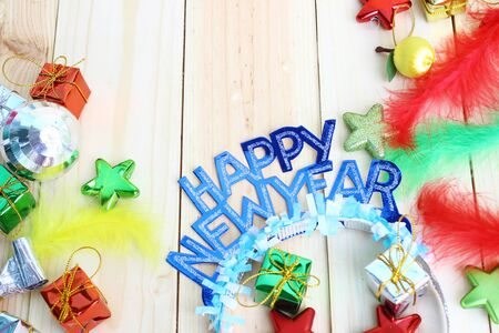 new year party  decoration on wooden background