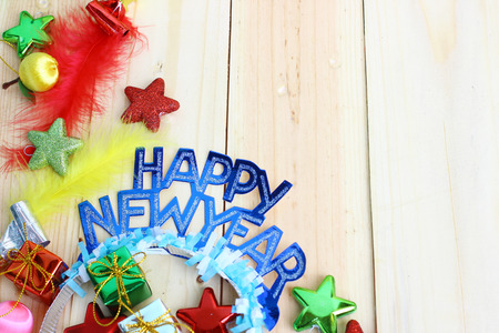 new year decor on wooden background with space for text