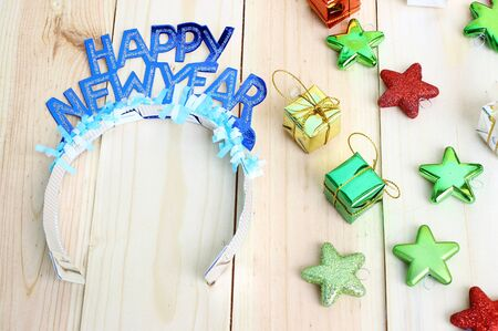 new year decoration on wooden background