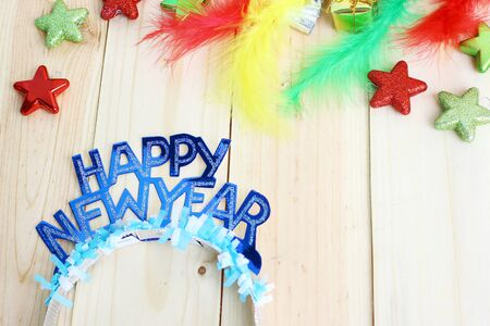 new year decoration on wood background