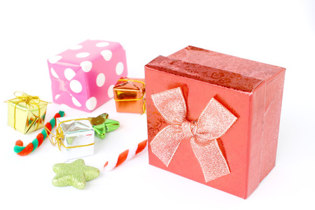 Gift box and accessories on white background Stock Photo