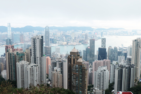 HONG KONG, CHINA - January 30,2016: Pictures of Hong Kong on a rainy cloudy sky.on January 30,2016 in Hong Kong.