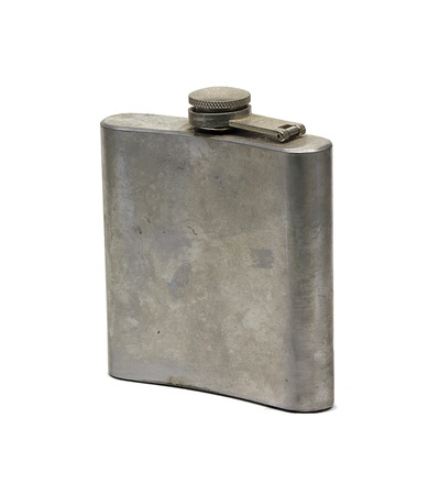 hip flask: Old stainless steel hip flask for alcohol.