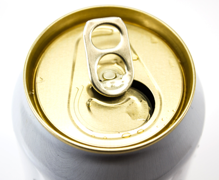 close-up top of beer cans on white background