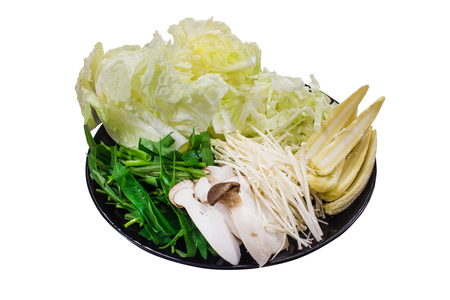 Delicious vegetables set. cabbage, morning glory, eryngii mushroom and Young corn. Isolated on white background with clipping path.