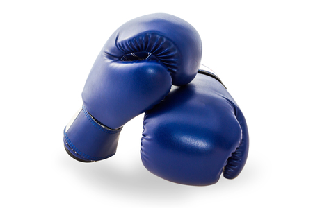 Blue mitt or boxing glove isolated on white background with clipping path. Boxing glove usually used in training boxers and other combat.