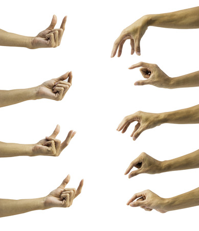 Set of hand gesture isolated on white background with clipping path. Man hand collection seem like holding, grab, catch  something empty.