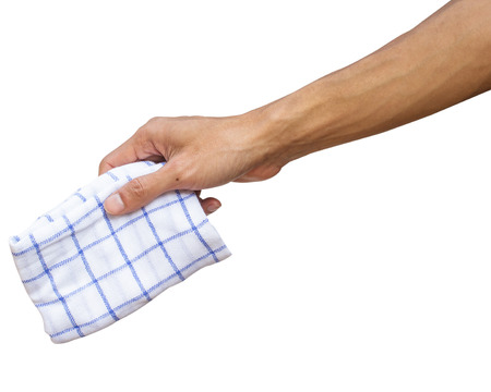 Man hand holding handkerchief or Table wipes isolated on white background with clipping path.  Stock Photo