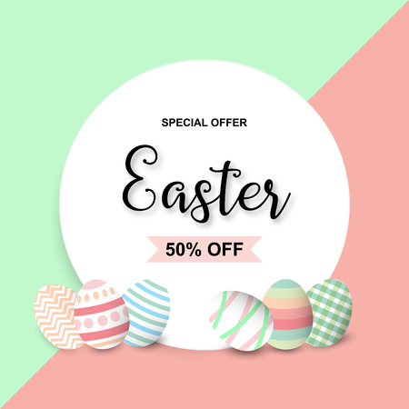 Happy Easter sale background template with colorful eggs. Happy Easter big sale banner with colorful Eggs. Vector illustration EPS10. Illustration
