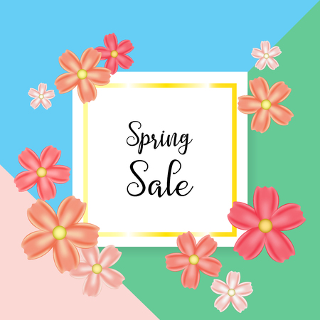 Spring sale with beautiful colorful flower background for web template, banners, flyers, posters, brochure, voucher discount. Vector illustration eps10.