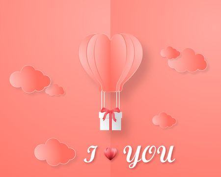 Creative love invitation card Valentine's day vector illustration paper cut style. Origami hot air balloon flying with gift box on the open book page with clouds and i love you text. 2019 color trend.
