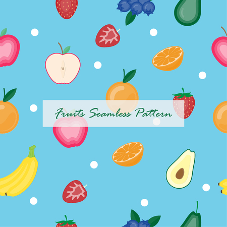 Creative vector illustration fruits seamless on blue background. Paper art digital craft papercut style.