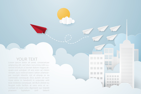 Creative vector illustration Leadership or thinking different concept. Red paper plane and white many paper plane flying on the sky over cityscape and clouds. Think difference and follow your focus. Illustration