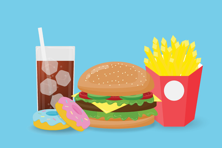 Creative illustration fast food isolated on blue background. Fast food hamburger, donuts, french fries,soda drink in flat style. Illustration