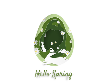 Creative illustration of spring and Easter concept. Green cut the paper into an egg-shaped layer. with white rabbit and flower, Depicts the abundance of nature in the spring. Paper art digital craft.