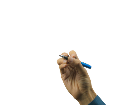 Cropped of businessman hand writing on white background. Carefully cut out by pen tool and insert clipping path. Foto de archivo