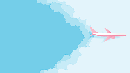 Love to travel concept illustration vector paper cut style. Paper art airplane aerial view with beautiful clouds and blue sky for poster, flyer, web template, advertising travel ticket promotion.