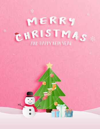 Christmas celebration and happy new year greeting or invitation card in paper cut style. Christmas tree, snowman and gift box on a snow on pink background. Vector illustration. Ilustrace