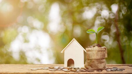 Property investment or saving money for new home concept. Plant growth on stack of coins in money bag with a small house model on wooden table. Depicts a good beginning. Business and financial concept Zdjęcie Seryjne