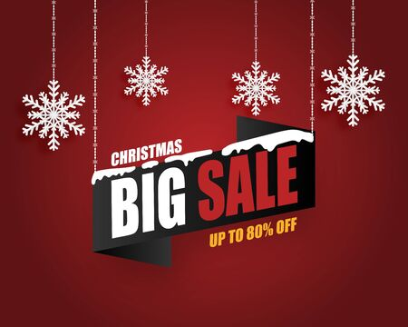 Christmas sale banner background with hanging snow flakes on red background in paper cut style. Vector illustration. Illustration