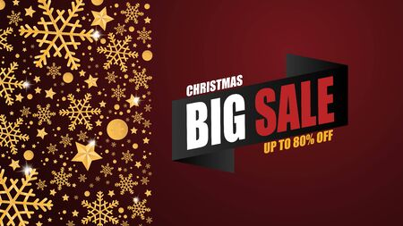 Christmas sale banner background with golden snow flakes and decoration on red background in paper cut style. Vector illustration.