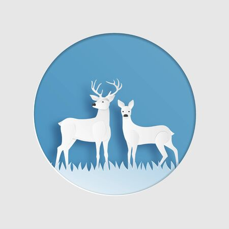 Love couple of reindeer in winter grass field in paper cut style. Creative vector illustration Christmas celebration. Valentines day concept.