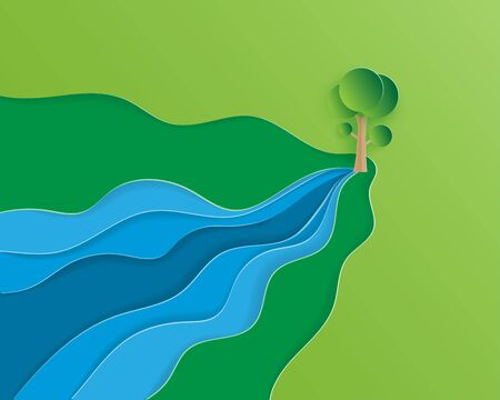 Creative illustration ecology and environment conservation concept in paper cut style. Water flows out of the tree. Depicts the forest is the origin of the river. Save water save the world poster.