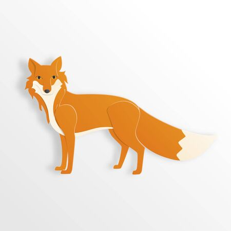 Fox character in paper cut style on  white background. Vector illustration. Digital craft paper art.