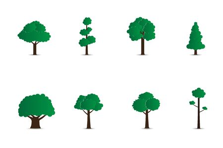 Set of trees isolated on white background. Creative vector illustration paper cut style. Digital craft paper art design for nature concept, presentation, environmental decorative poster and brochure.