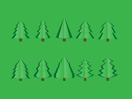 Set of origami green pine tree isolated on green background paper cut style. Design for icons, poster, brochure, flyer, wallpaper, backdrop, Christmas new year festival decoration.
