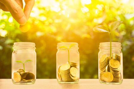 Money savings, investment, making money for future, financial wealth management concept. Hand holding coin over stacked coins in glass jar and growing plant and light. Depicts fund growth and wealth. Stock fotó