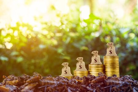 Making money and money investment concept. A money bag on rise up stack of coins on good soil and nature background with sunlight. Depicts long-term investment And wealth and financial stability.
