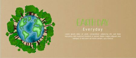 Earth day everyday concept in paper cut style. 3d paper art. Origami made carving Earth map shapes with tree forest on background and space. Save the Earth concept.Backdrop, banner, wallpaper, poster. Çizim