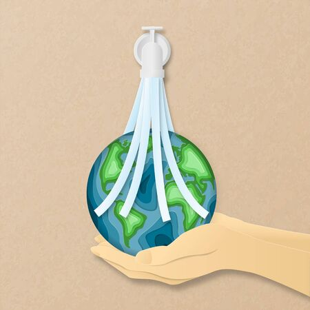 Earth day everyday concept in paper cut style. 3d paper art. Origami made carving Earth map shapes with water flowing from tube cleaning on hand. Save the Earth concept. Banner, backdrop, poster. Stok Fotoğraf - 131793967