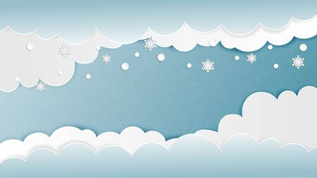 Clouds background with snowflakes in paper cut style. Vector illustration. Digital craft paper art design for backdrop, wallpaper, template, banner, poster, advertising display, brochure, book cover.