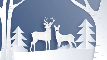 Love couple of deer in winter field with pine tree and branches in paper cut style. Creative vector illustration Christmas celebration. Backdrop, Poster, Brochure, Banner, Flyer, Greeting card.