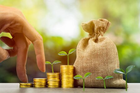 Making money and money investment, Savings concept. A man hand on rising stack of coins with money bag and plant on background. Depicts long-term investment And wealth and financial stability. Stok Fotoğraf