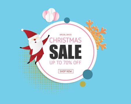 Christmas sale banner in paper cut style with happy Santa Claus and decoration. Vector illustration design for banner, advertising display. Çizim