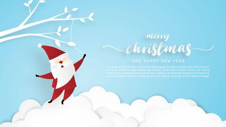 Christmas celebration greeting card in paper cut style with hanging Santa Claus on branches in cloud and sky. Vector illustration paper art digital craft.