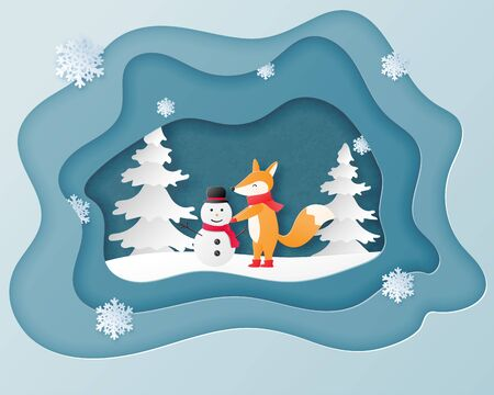 Christmas celebration greeting card in paper cut style with baby fox making snowman on snow field and pine tree. Vector illustration paper art craft layer frame.