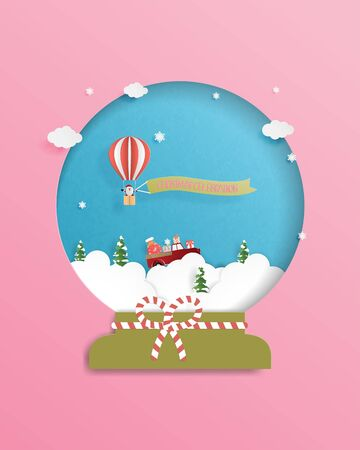 Christmas celebrations greeting card in paper cut style with Santa Claus in hot air balloon. Vector illustration design for poster, postcard, backdrop, banner. Stok Fotoğraf - 131792805