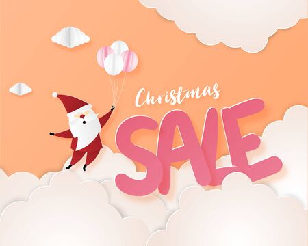 Christmas sale promotion banner background with decoration, Flying Santa Claus in paper cut style. Design for banner, flyer, brochure, advertising template.