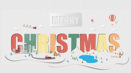 Merry Christmas landscape background in paper cut style. Vector illustration Christmas celebration with cityscape and countryside.