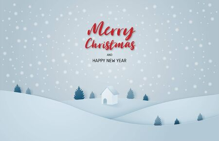 Merry Christmas and happy new year celebration background. Winter landscape with cottage and falling snowflakes in paper cut style. Vector illustration.