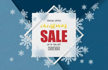 Christmas sale banner design in paper cut style. Vector illustration for backdrop, poster, brochure, flyer, advertising display. Çizim