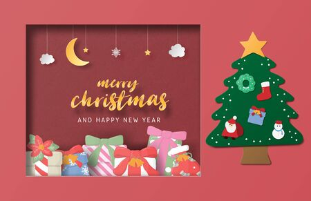 Christmas celebration greeting card in paper cut style. Vector illustration. Design for backdrop, poster, banner, wallpaper. Çizim