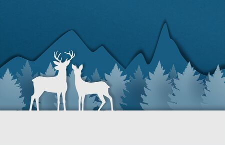 Digital craft made deer couple on snowfield with pine forest and mountain in paper cut style. Vector illustration. Design for poster, banner, backdrop, wallpaper.
